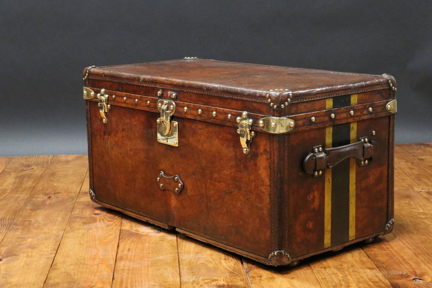 1920s Louis Vuitton Leather Trunk Malle Louis Vuitton Cuir At 1stdibs