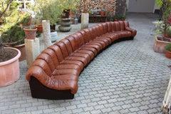 De Sede DS-600 Non Stop Sofa Switzerland 1970s in Cognac Leather