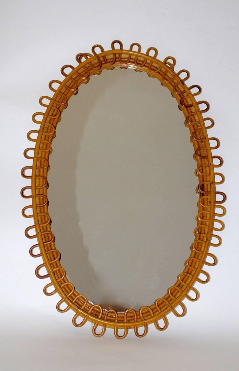 20th Century Rattan Mirror Riviera Style France, 1950s For Sale