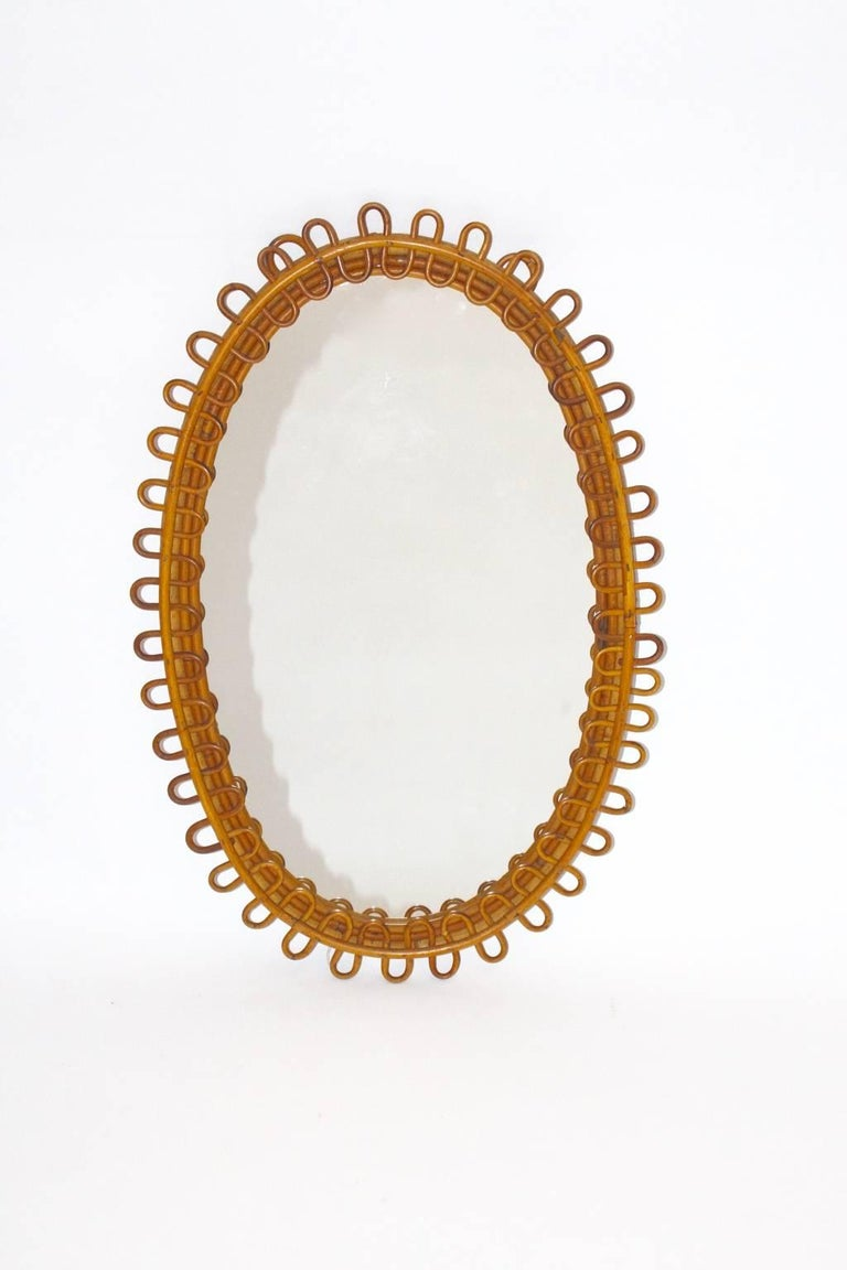 Rattan Mirror Riviera Style France, 1950s For Sale 1