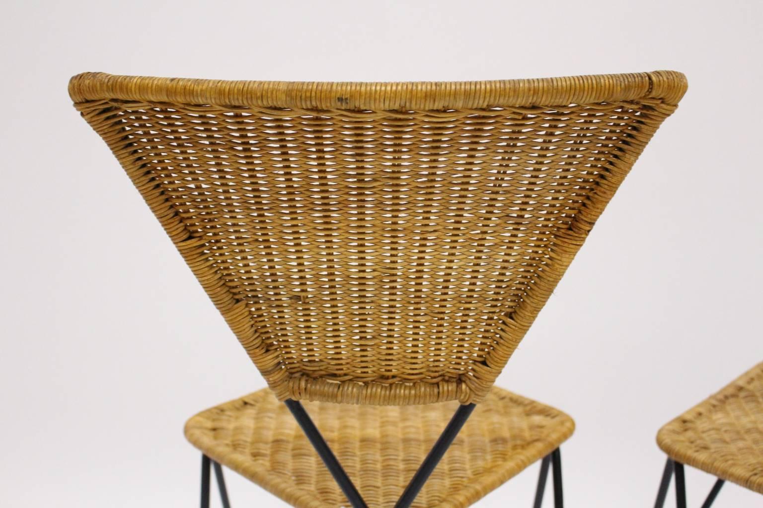 Wicker Garden Chairs By Karl Fostel Senu0027s Erben For Sonett Vienna, Circa  1950 For Sale