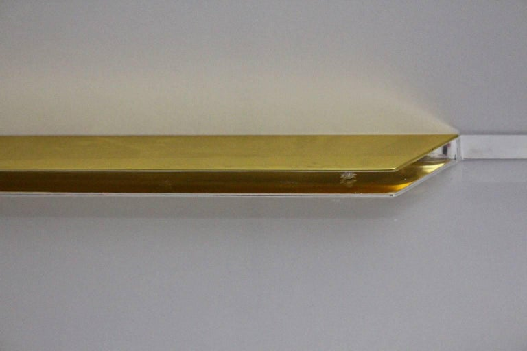 Lucite and Gilded Wall Console Table, 1970s For Sale 12
