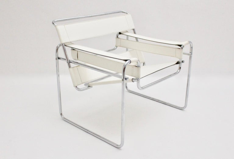 White Wassili Lounge Chair B 3 by Marcel Breuer Bauhaus Style For Sale 2