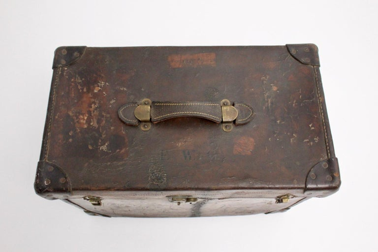 Early 20th Century Brown Leather Suitcase circa 1920, Austria For Sale