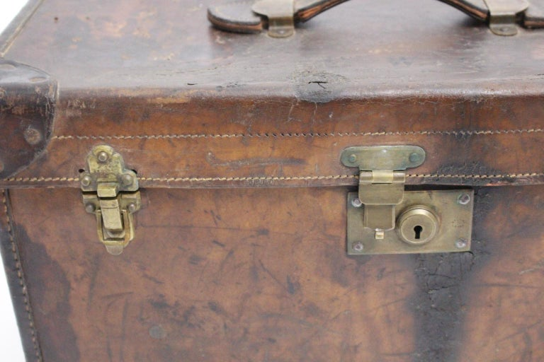 Brass Brown Leather Suitcase circa 1920, Austria For Sale