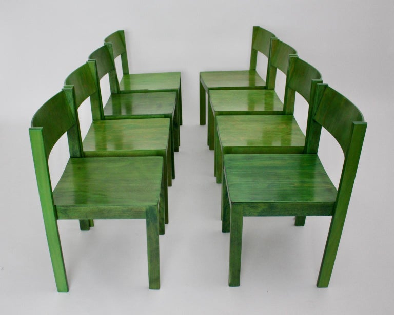 Mid-Century Modern Green Carl Auböck Dining Room Chairs, Vienna, 1956, Set of Eight For Sale