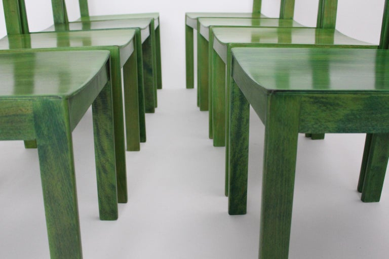 Green Carl Auböck Dining Room Chairs, Vienna, 1956, Set of Eight For Sale 1
