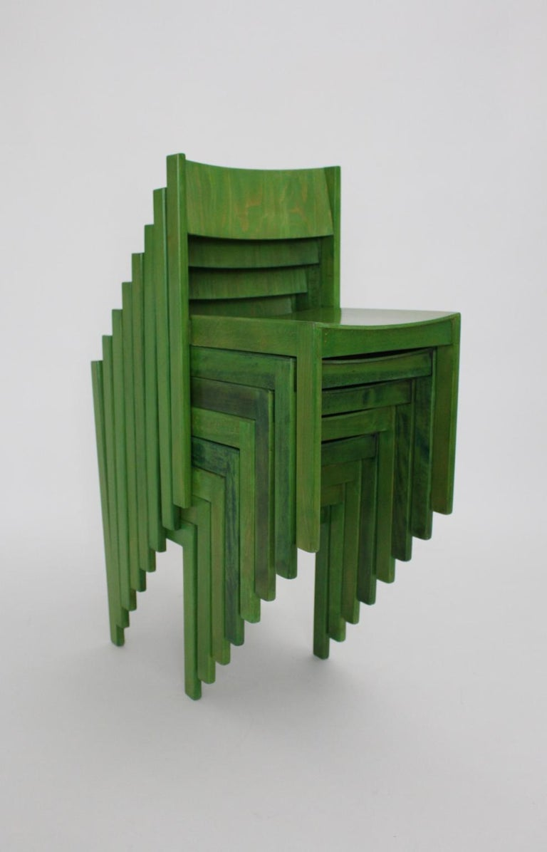 Green Carl Auböck Dining Room Chairs, Vienna, 1956, Set of Eight For Sale 8