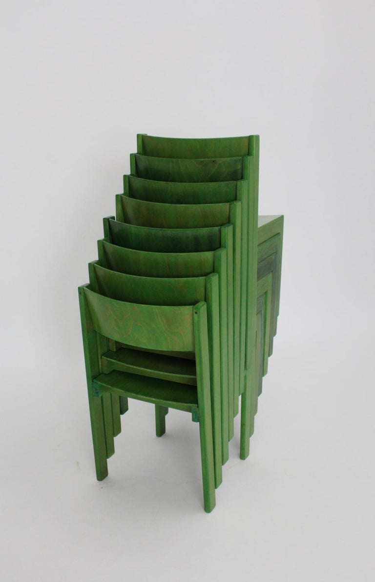 Green Carl Auböck Dining Room Chairs, Vienna, 1956, Set of Eight For Sale 11