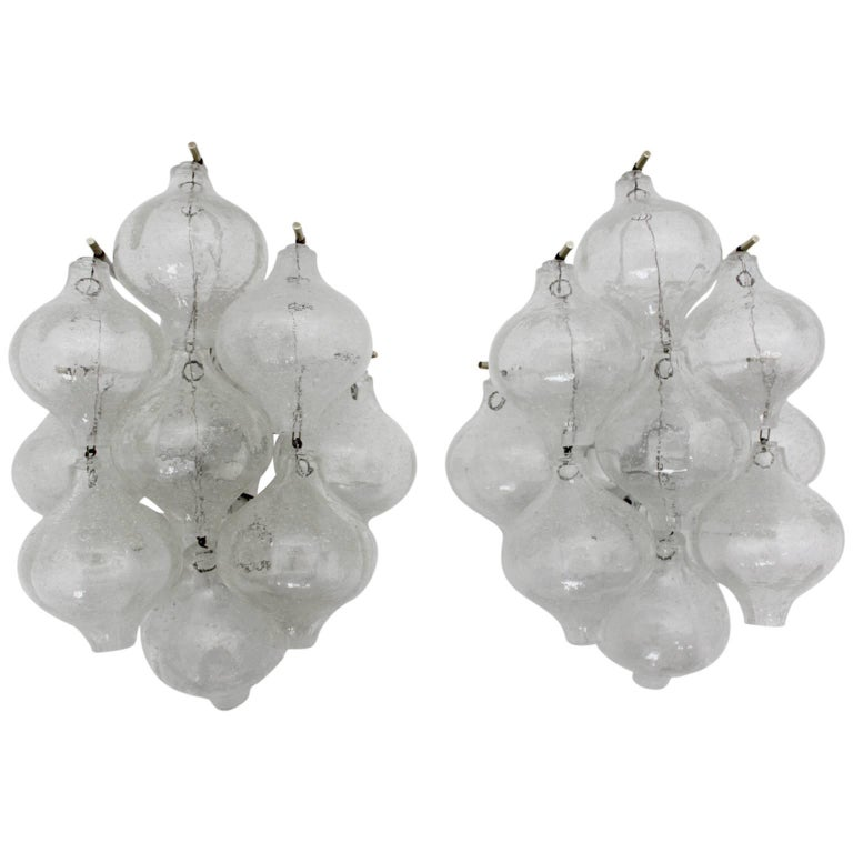 Mid-Century Modern Pair of Tulipan Sconces by J.T. Kalmar Vienna, Austria, 1960 For Sale