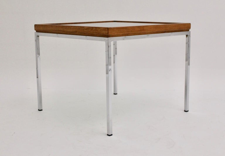 Late 20th Century Mid-Century Modern Chrome and Oak Square Coffee Table, Austria, 1970s For Sale