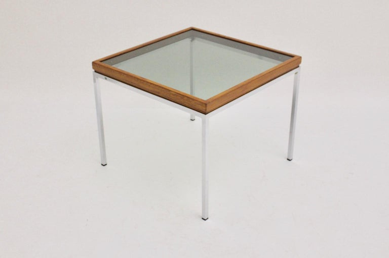 Mid-Century Modern Chrome and Oak Square Coffee Table, Austria, 1970s For Sale 1