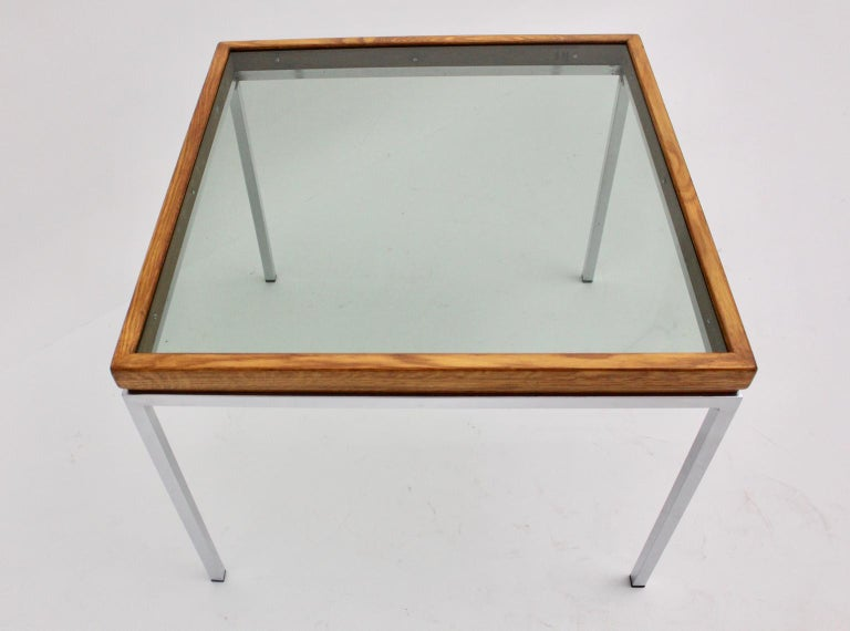 Mid-Century Modern Chrome and Oak Square Coffee Table, Austria, 1970s For Sale 2