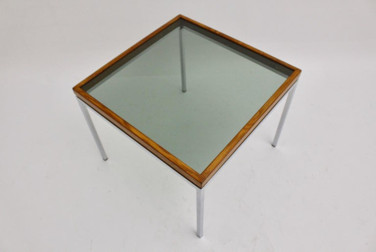 Mid-Century Modern Chrome and Oak Square Coffee Table, Austria, 1970s For Sale 3