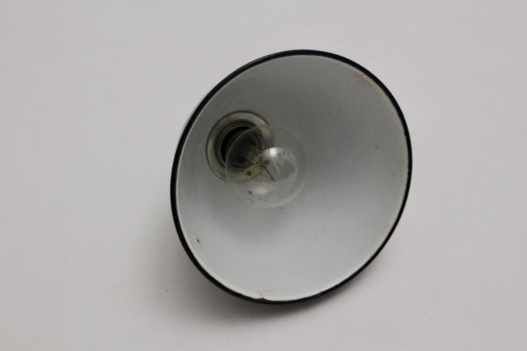 Bauhaus Black and White Email Hanging Lamp, 1920s, Germany For Sale 1