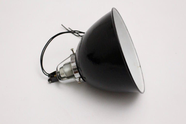 Bauhaus Black and White Email Hanging Lamp, 1920s, Germany For Sale 2
