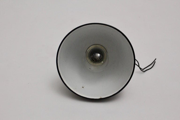 Bauhaus Black and White Email Hanging Lamp, 1920s, Germany For Sale 3