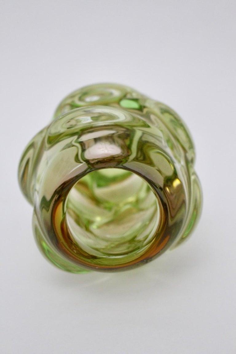 Green Glass Vase by Jan Beranek for Skrdlovice Czech Republic, 1960s For Sale 1