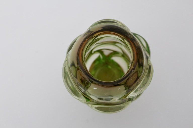 Green Glass Vase by Jan Beranek for Skrdlovice Czech Republic, 1960s For Sale 3