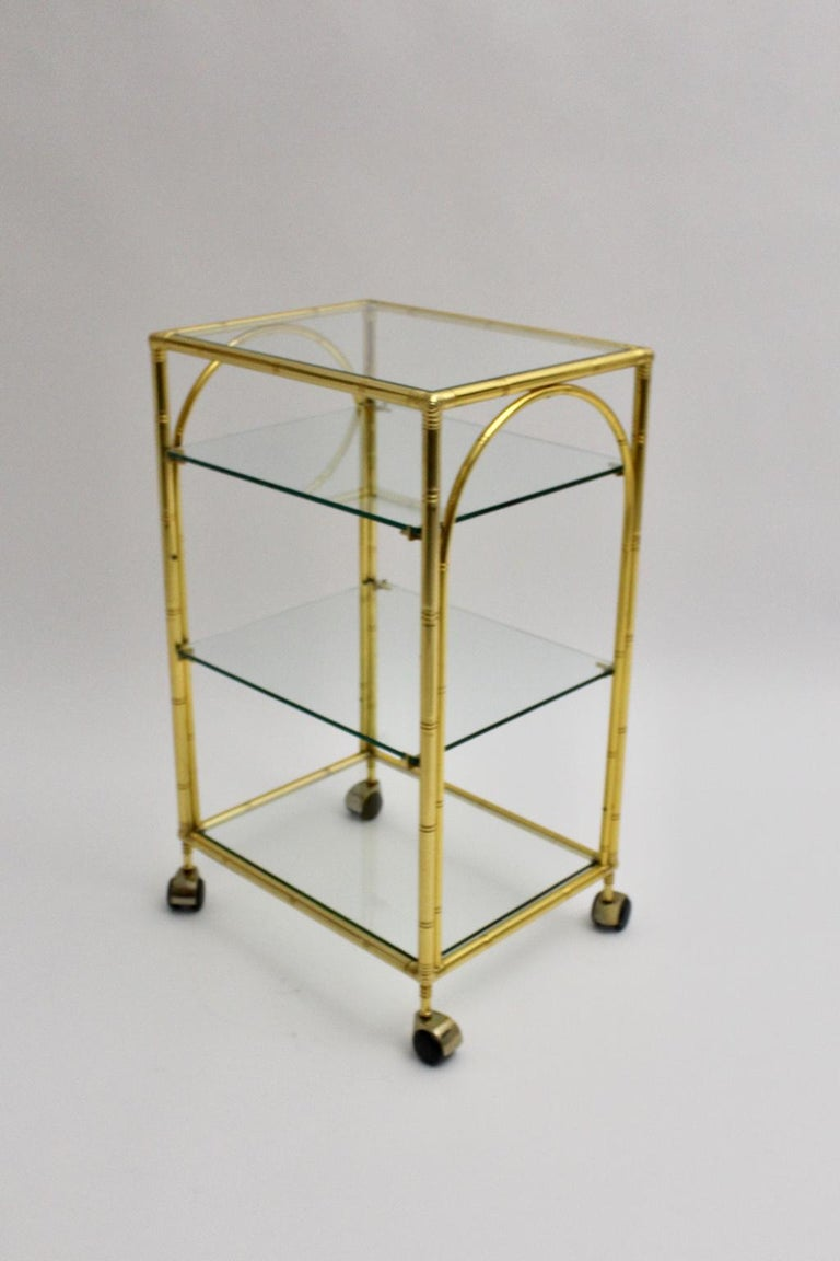 Mid-Century Modern Faux Bamboo Bar Cart by Maison Baguès Attributed, 1960s In Good Condition For Sale In Vienna, AT