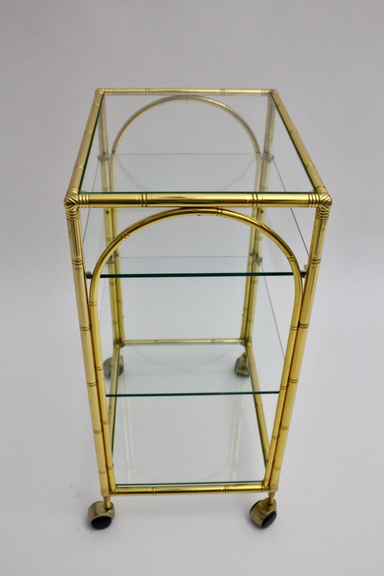 Mid-Century Modern Faux Bamboo Bar Cart by Maison Baguès Attributed, 1960s For Sale 2
