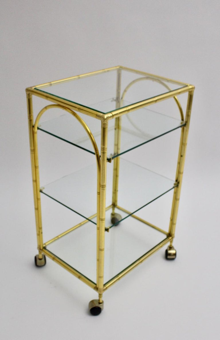 Mid-Century Modern Faux Bamboo Bar Cart by Maison Baguès Attributed, 1960s For Sale 4