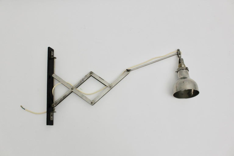 Mid-20th Century Bauhaus Metal Wall Scissor Lamp Art Deco Era, 1930 For Sale