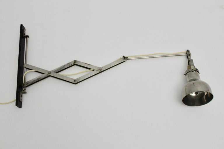 Beech Bauhaus Metal Wall Scissor Lamp Art Deco Era, 1930 For Sale