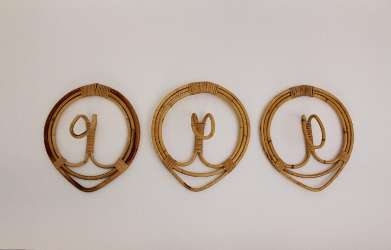 Mid-Century Modern Rattan Coat Hooks by Franco Albini & Franca Helg, 1961, Italy In Good Condition For Sale In Vienna, AT