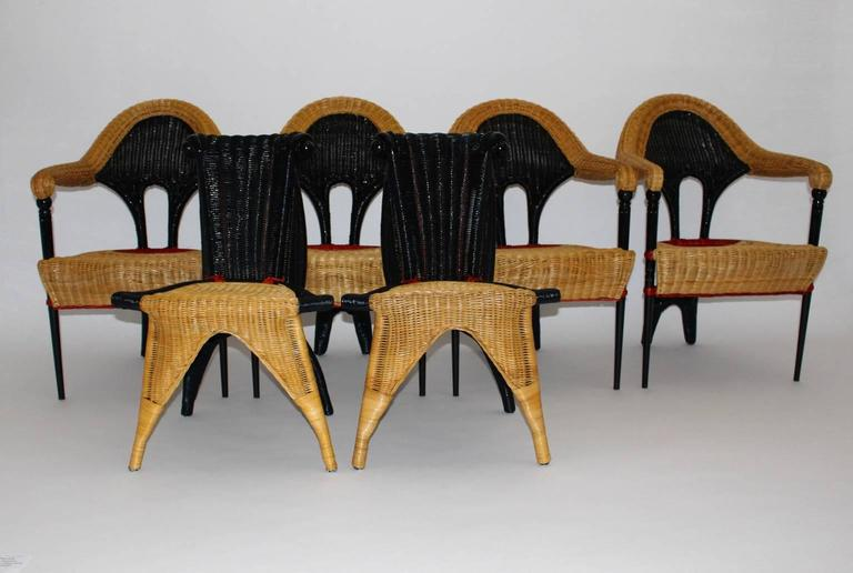 A modern vintage rattan dining chairs, which was designed by Borek Sipek Czeck Republic 1988. This very rare and comfortable wicker seating set includes four armchairs model Liba and two chairs model Helena by Borek Sipek. Furthermore these vintage
