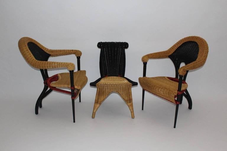 Lacquered Modern Vintage Rattan Six Dining Chairs by Borek Sipek Czech Republic 1988  For Sale