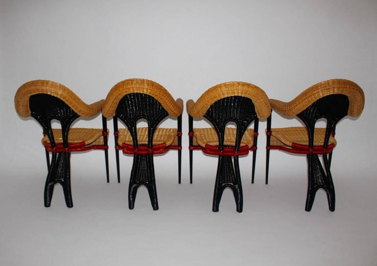 Modern Vintage Rattan Six Dining Chairs by Borek Sipek Czech Republic 1988  In Good Condition For Sale In Vienna, AT