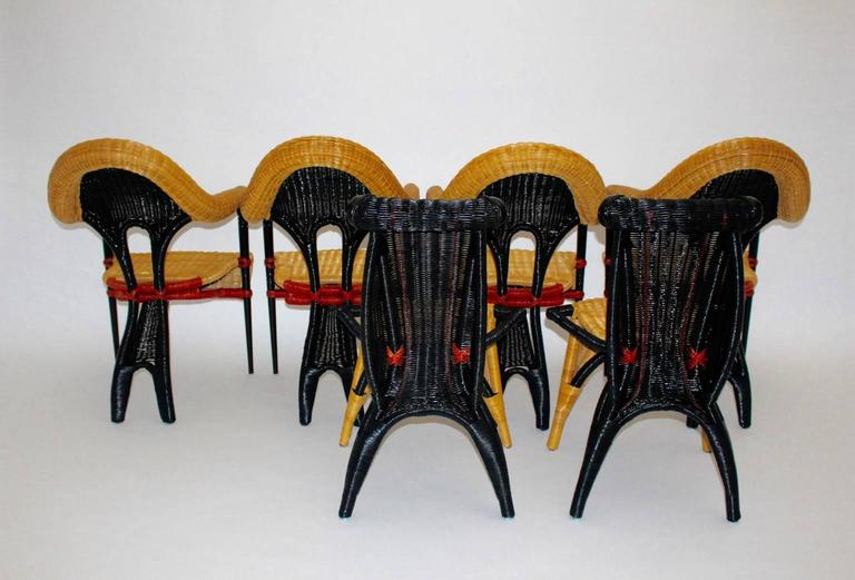 20th Century Modern Vintage Rattan Six Dining Chairs by Borek Sipek Czech Republic 1988  For Sale