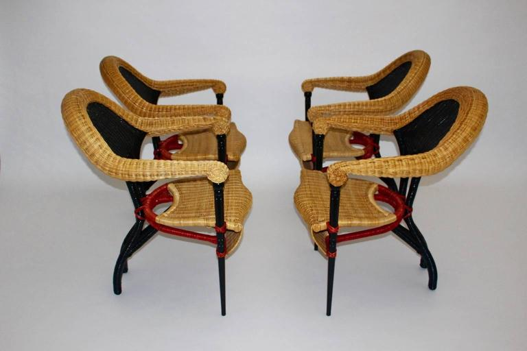 Wicker Modern Vintage Rattan Six Dining Chairs by Borek Sipek Czech Republic 1988  For Sale