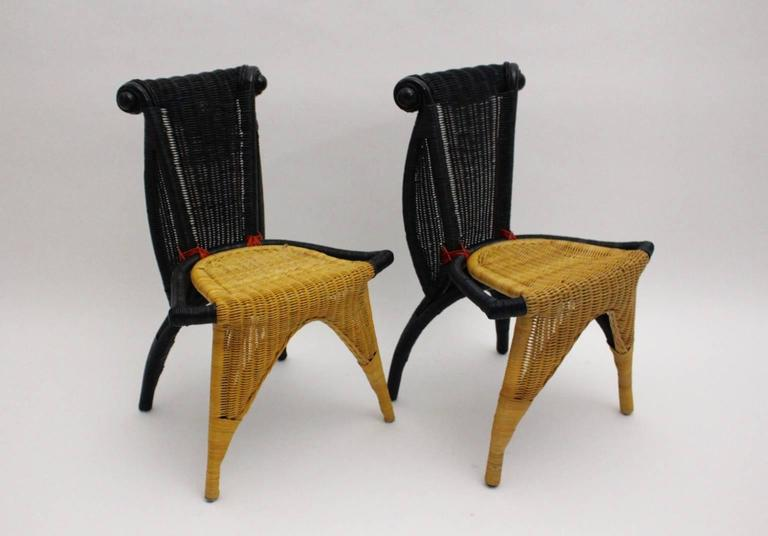 Modern Vintage Rattan Six Dining Chairs by Borek Sipek Czech Republic 1988  For Sale 1