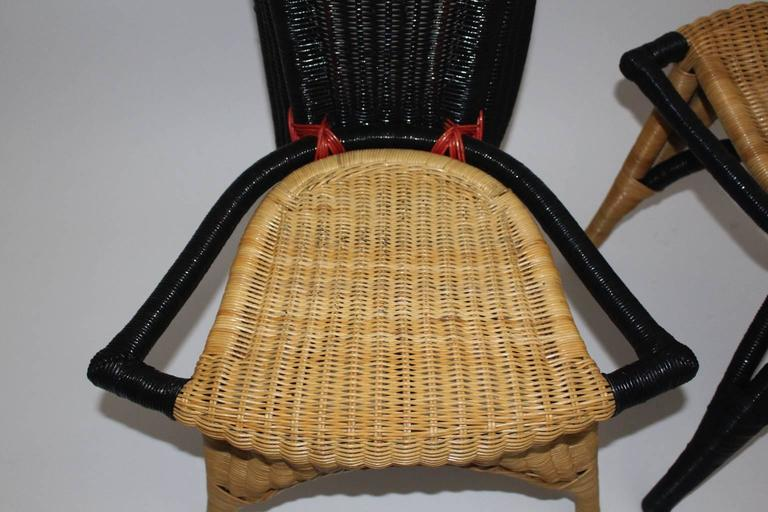 Modern Vintage Rattan Six Dining Chairs by Borek Sipek Czech Republic 1988  For Sale 2