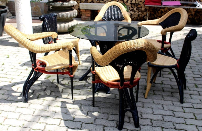 Italian Modern Vintage Rattan Six Dining Chairs by Borek Sipek Czech Republic 1988  For Sale
