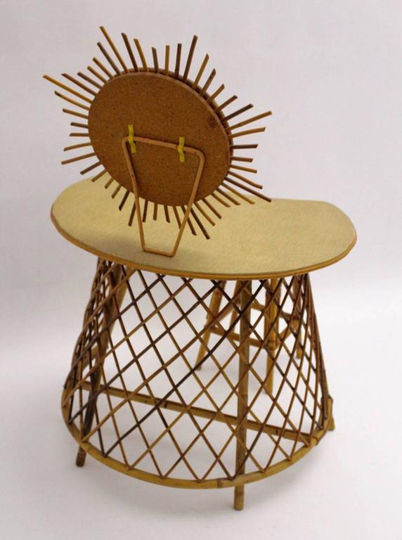 Cane Vanity with a sunburst mirror in the Style of Jean Royere, 1950s Rattan For Sale