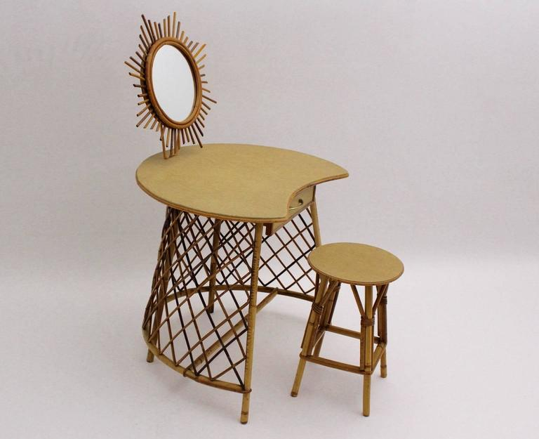 Mid-Century Modern Vanity with a sunburst mirror in the Style of Jean Royere, 1950s Rattan For Sale