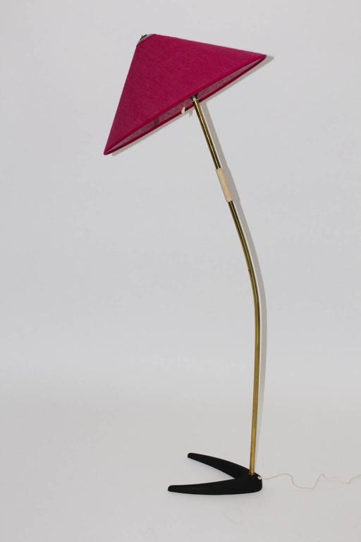 Cast Mid-Century Modern Kalmar Brass Floor Lamp with Clawfoot 1950s Austria For Sale