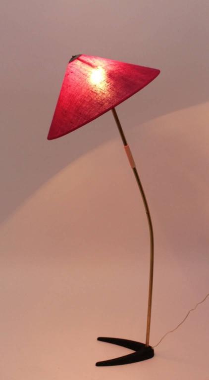 Austrian Mid-Century Modern Kalmar Brass Floor Lamp with Clawfoot 1950s Austria For Sale