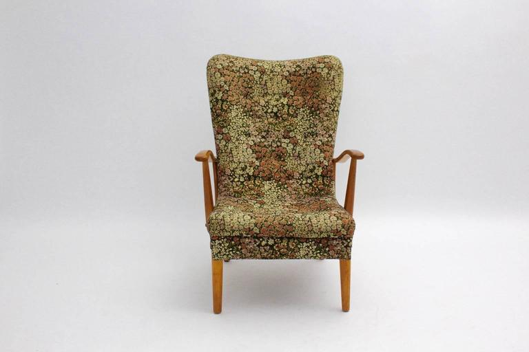 Beech Multicolored Mid Century Modern Lounge Chair with Flower Design Fabric 1950s For Sale