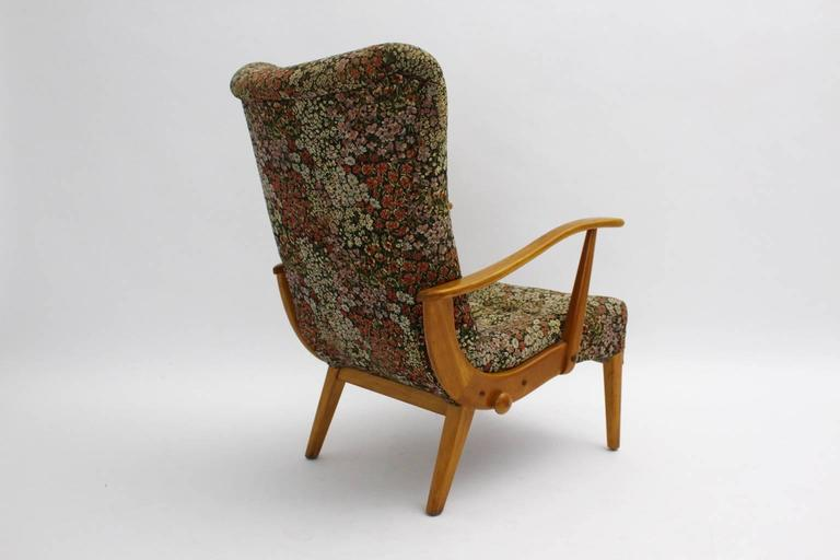 Austrian Multicolored Mid Century Modern Lounge Chair with Flower Design Fabric 1950s For Sale