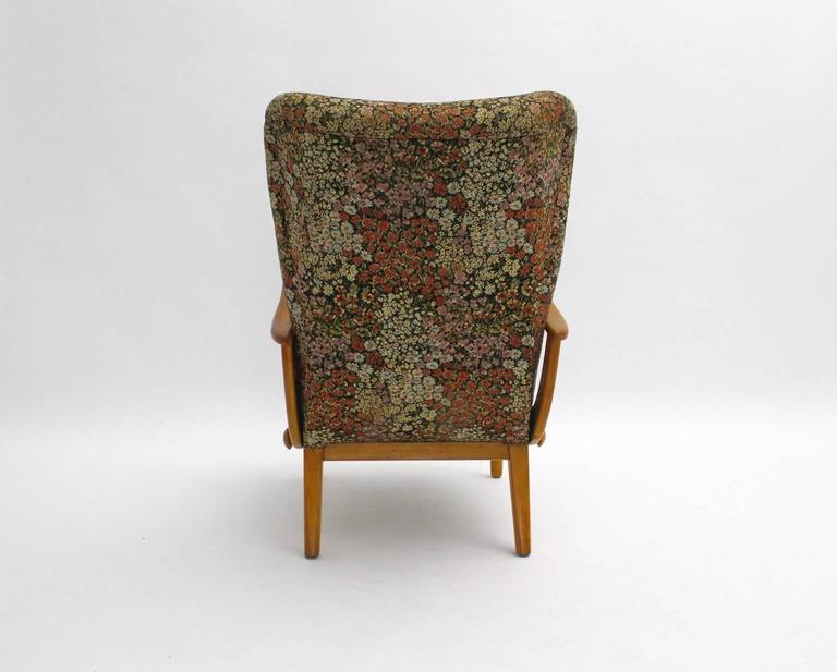 Multicolored Mid Century Modern Lounge Chair with Flower Design Fabric 1950s For Sale 2