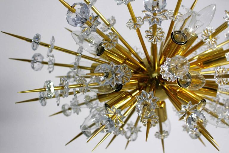 Mid Century Modern Vintage Glass Brass Chandelier Miracoloso Bakalowits 1972  For Sale 2