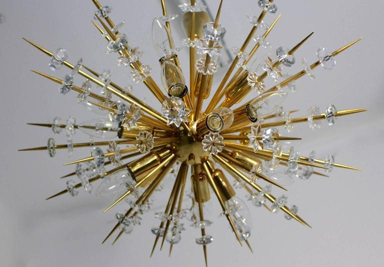 Crystal  Mid Century Modern Vintage Glass Brass Chandelier Miracoloso Bakalowits 1972  For Sale