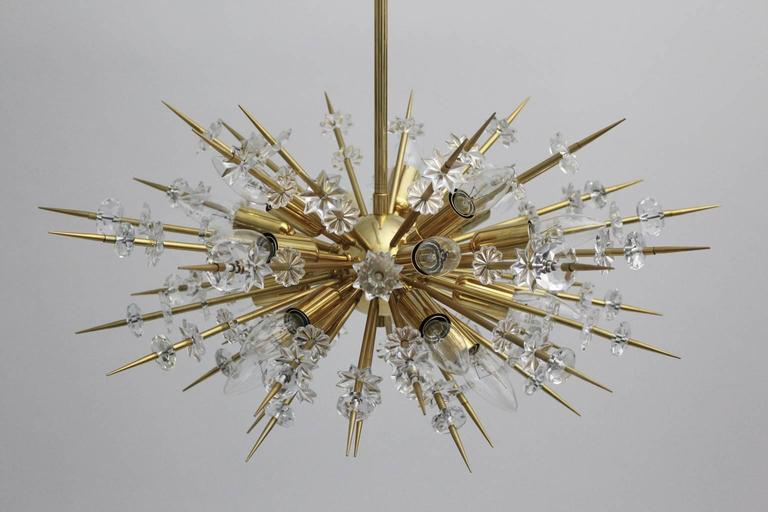 Mid Century Modern Vintage Glass Brass Chandelier Miracoloso Bakalowits 1972  In Good Condition For Sale In Vienna, AT