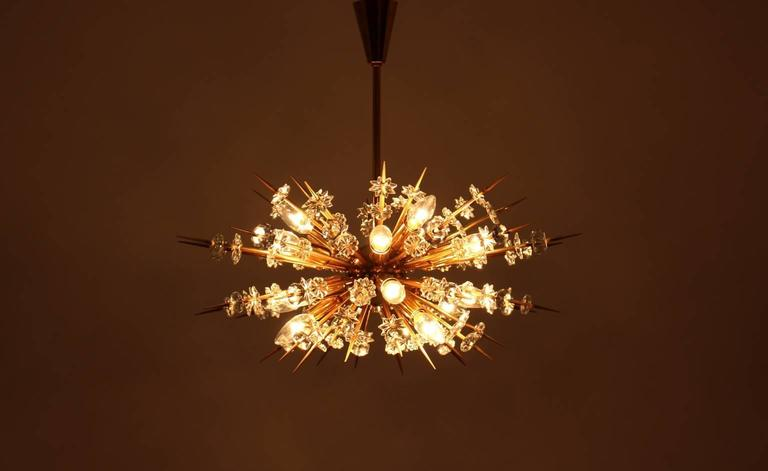 Plated  Mid Century Modern Vintage Glass Brass Chandelier Miracoloso Bakalowits 1972  For Sale