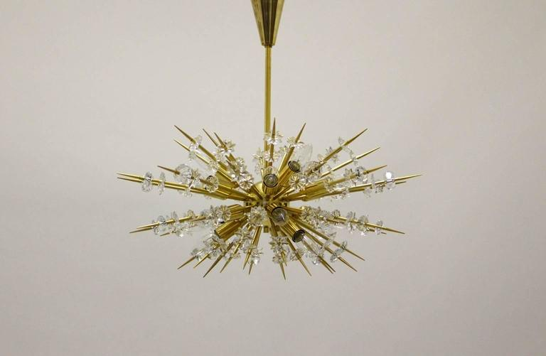 Late 20th Century  Mid Century Modern Vintage Glass Brass Chandelier Miracoloso Bakalowits 1972  For Sale