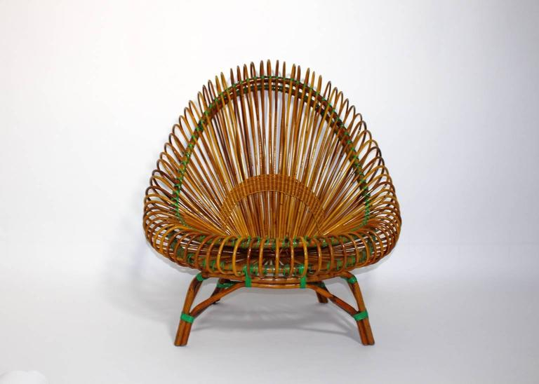 French Mid Century Modern Rattan Garden Furniture by Janine Abraham Dirk Jan Rol 1950s  For Sale